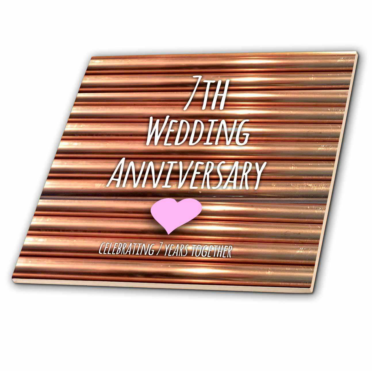 3dRose 7th Wedding Anniversary gift - Copper celebrating 7 years together - seventh anniversaries seven - Ceramic Tile, 6-inch