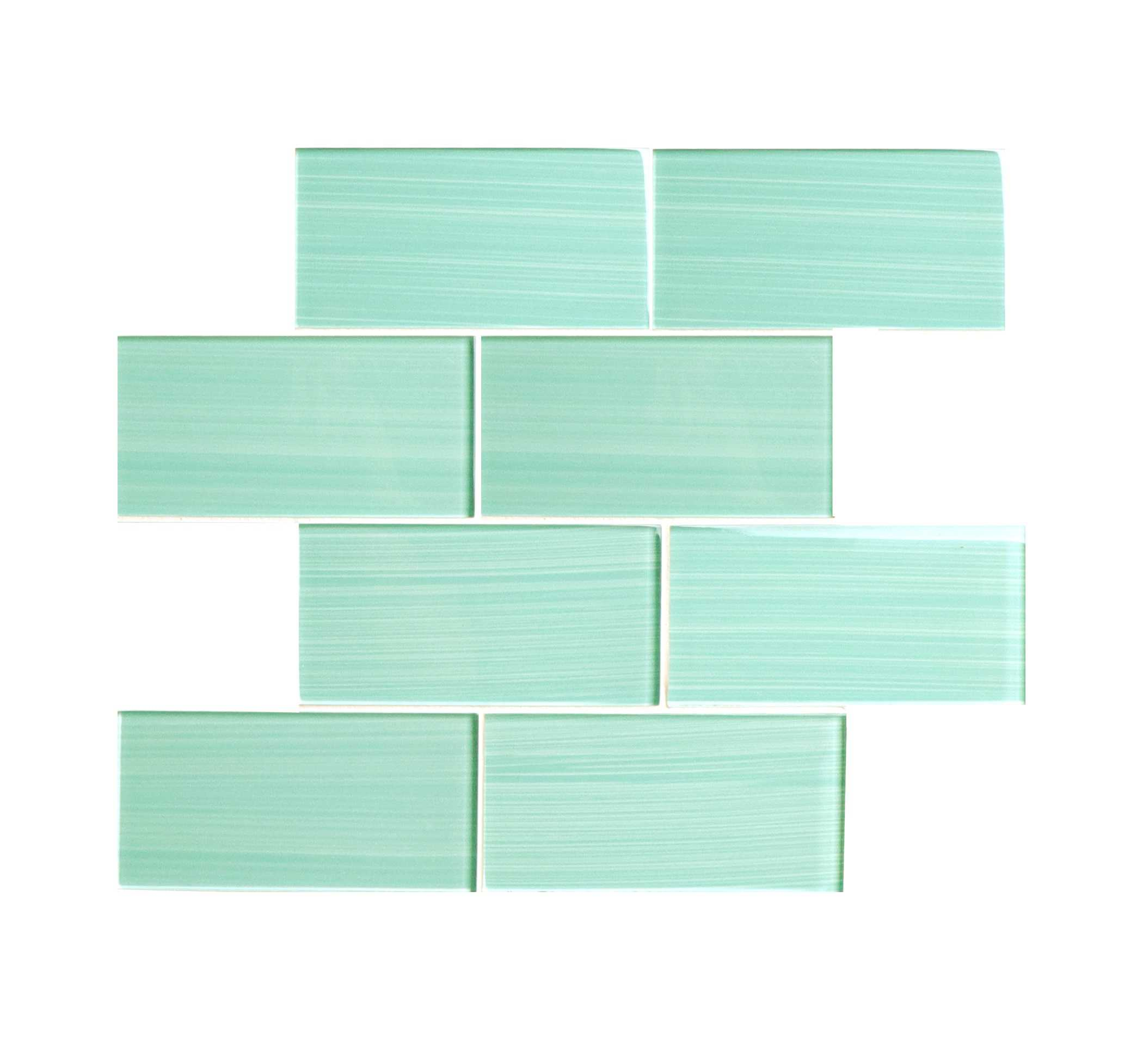 Hand Painted Series 3' x 6' Glass Subway Tile in Light Teal - 5 square feet carton