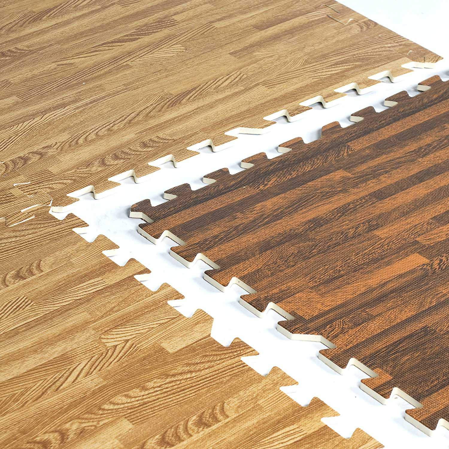CAP 6-PIECE DUAL SIDED FOAM TILE FLOORING WITH WOOD STYLE PATTERN